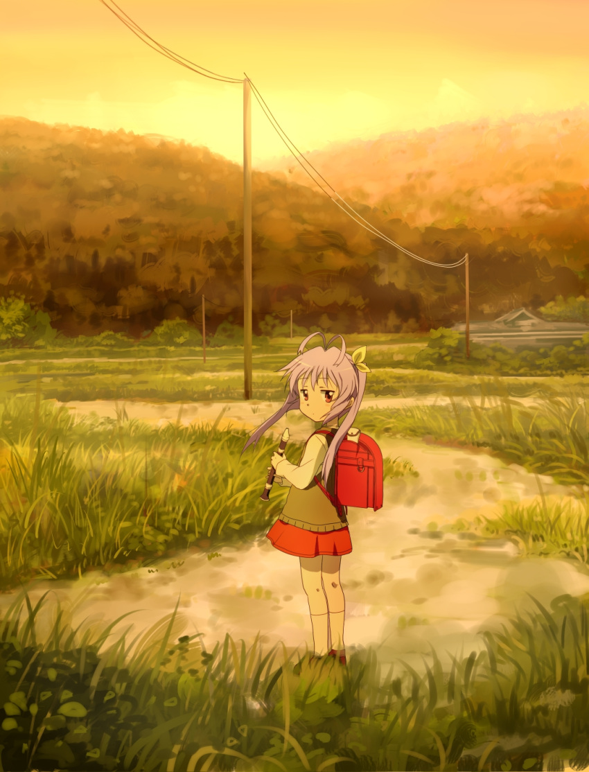 1girl ahoge antenna_hair backpack bag blush_stickers child expressionless eyebrows_visible_through_hair forest from_side full_body grass ground hair_ornament hair_ribbon highres holding_instrument hotate_(suikaneko) instrument instrument_case jitome landscape lavender_hair loafers long_sleeves looking_at_viewer looking_back miyauchi_renge nature non_non_biyori orange_sky outdoors post randoseru recorder red_eyes ribbon scenery shirt shoes skirt sky socks solo standing telegraph_lines telephone_pole tree twintails vest