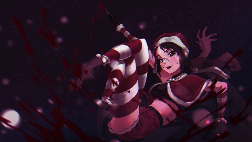 absurdres black_hair blood christmas highres short_hair yandere-chan yandere_simulator