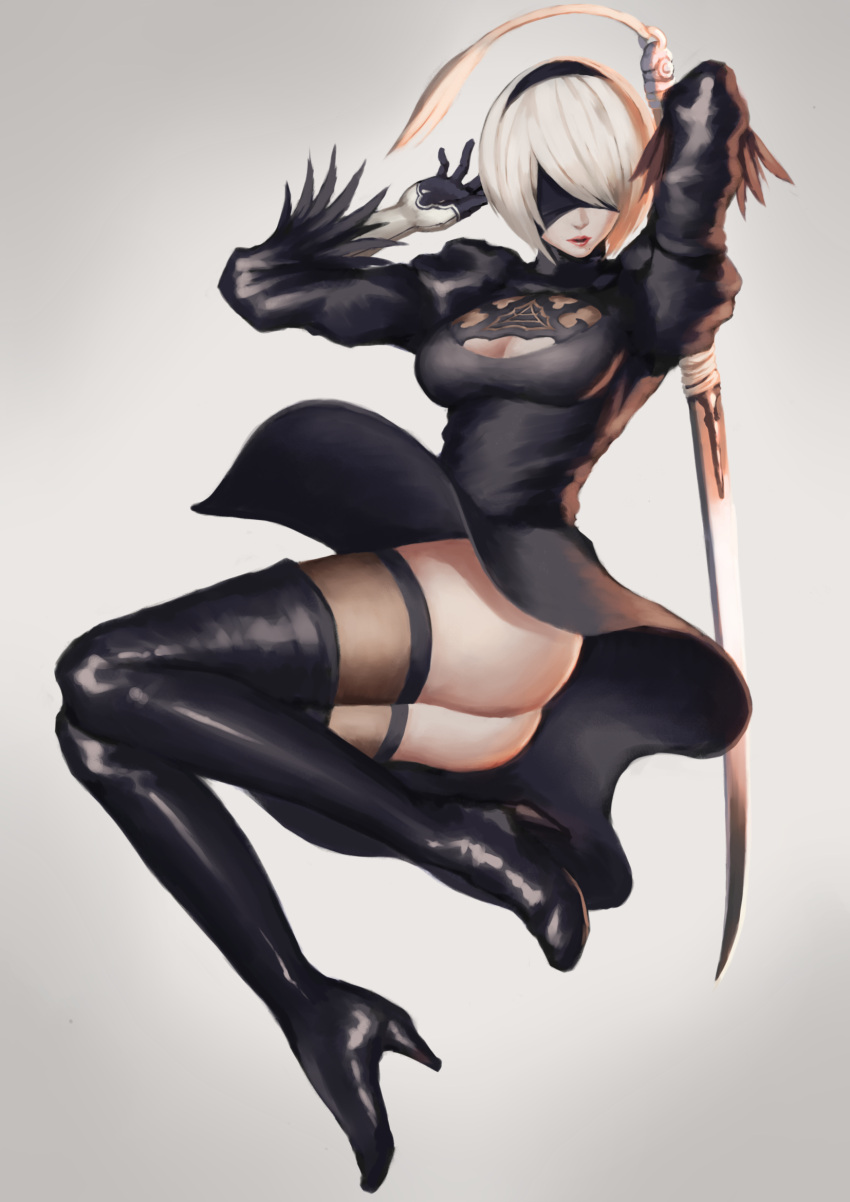1girl arms_up ass bangs black_boots black_dress black_gloves black_hairband black_legwear blindfold boots breasts cleavage cleavage_cutout covered_eyes dress full_body gloves hair_over_one_eye hairband high_heel_boots high_heels highres holding holding_sword holding_weapon juliet_sleeves katana legs_together long_sleeves madarao_56 medium_breasts mole mole_under_mouth nier_(series) nier_automata no_leotard no_panties parted_lips pink_lips puffy_sleeves ribbed_dress short_dress short_hair side_slit silver_hair solo sword thigh-highs thigh_boots vambraces weapon weapon_on_back yorha_no._2_type_b