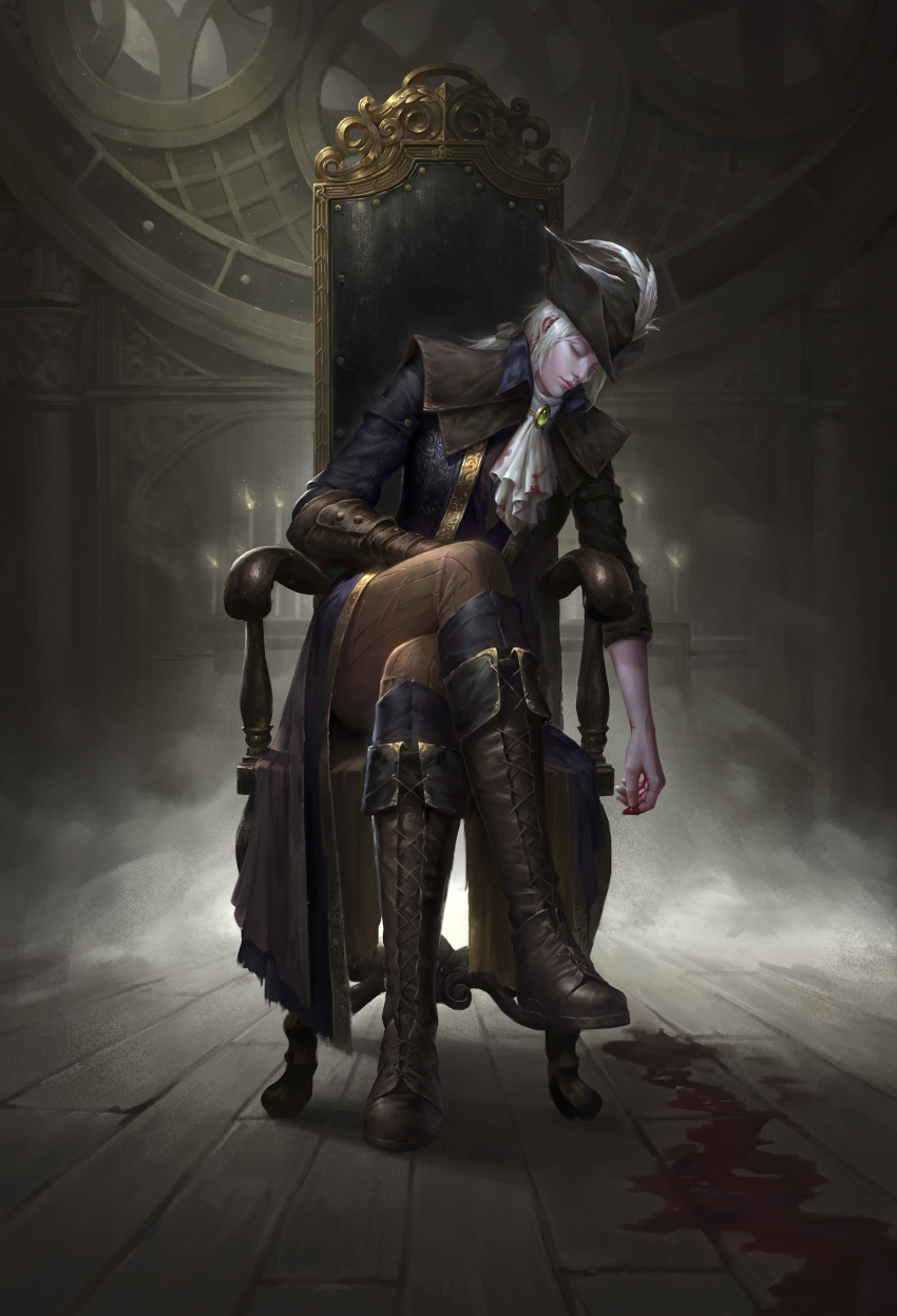 1girl absurdres armchair bleeding blood bloodborne bloody_clothes boots chair closed_eyes cravat cross-laced_footwear hat_feather highres lady_maria_of_the_astral_clocktower silver_hair sitting sleeping solo the_old_hunters wenfei_ye