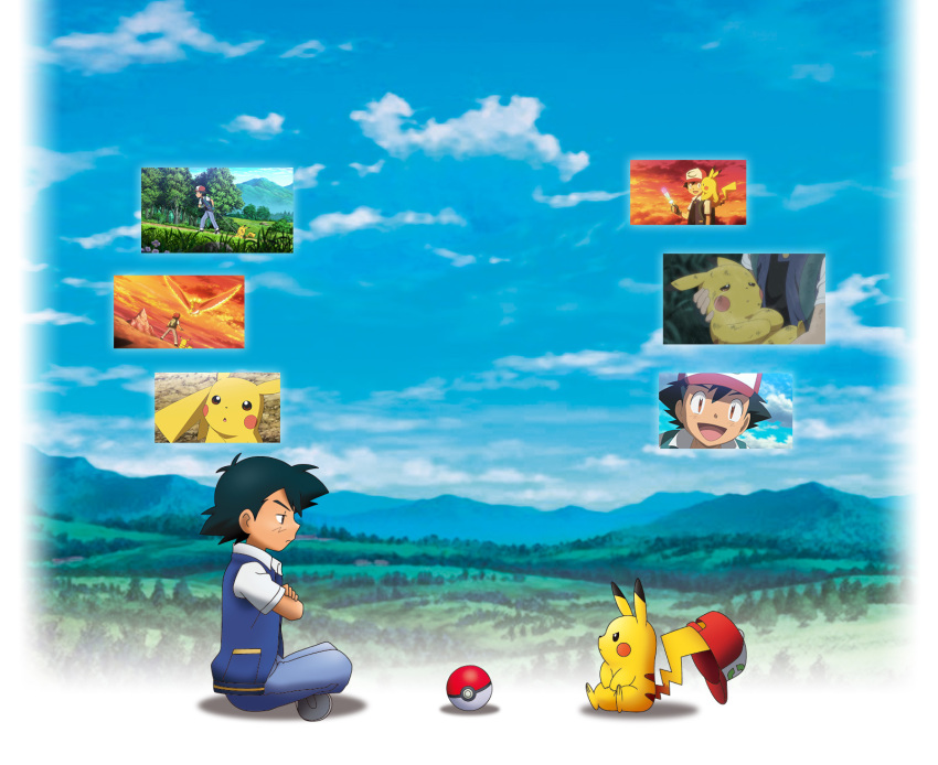 1boy hat highres ho-oh official_art pikachu pokemon pokemon_(creature) satoshi_(pokemon)