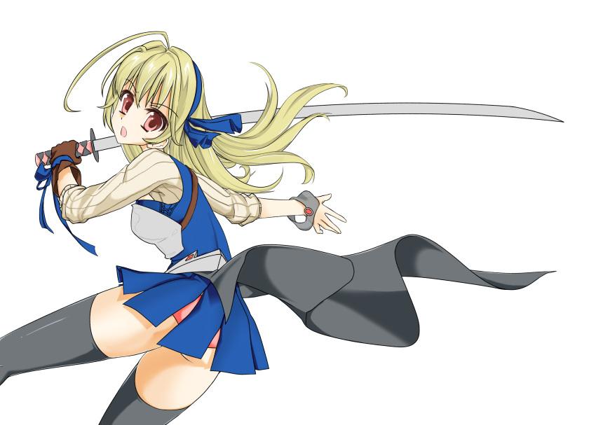 1girl armor black_legwear blonde_hair original oshibu panties red_eyes thigh-highs weapon white_background zettai_ryouiki
