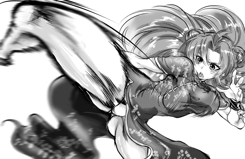 1girl ahoge alternate_costume alternate_hairstyle bangs bell bouncing_breasts breasts china_dress chinese_clothes cleft_of_venus double_bun dress floral_print focused fox_udon gluteal_fold greyscale hand_up hong_meiling kicking leg_up legs long_hair looking_to_the_side monochrome motion_blur motion_lines muscle muscular_female panties pantyshot pelvic_curtain shiny shiny_hair short_sleeves shouting solo taut_clothes taut_dress thighs touhou underwear very_long_hair wrist_cuffs
