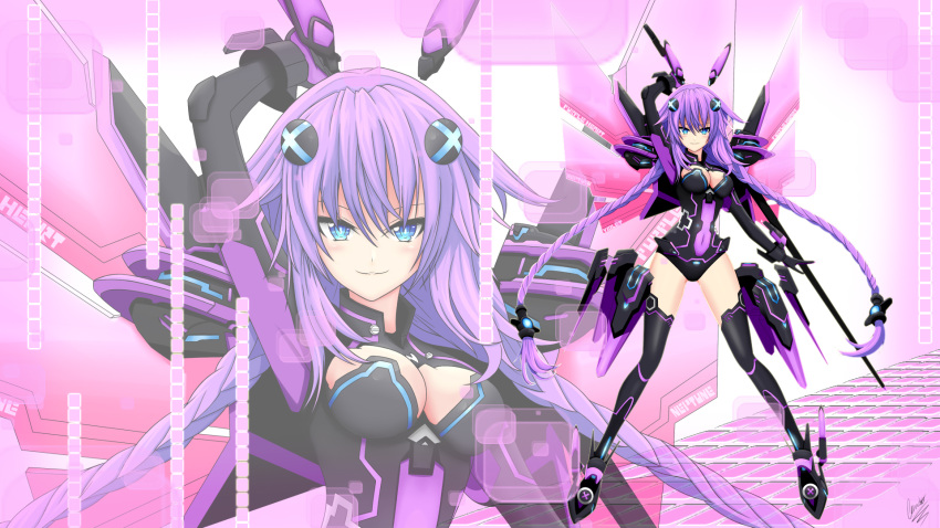 1girl blue_eyes blush bodysuit breasts choujigen_game_neptune cleavage cundodeviant highres large_breasts long_hair looking_at_viewer neptune_(choujigen_game_neptune) neptune_(series) purple_hair purple_heart smile solo thigh-highs