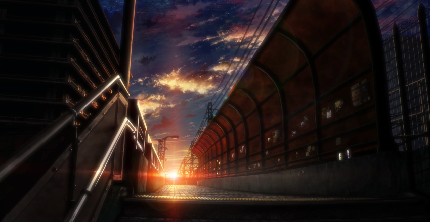 bridge building city clouds commentary dark dutch_angle highres lens_flare no_humans original poster_(object) power_lines scenery sky stairs star_(sky) sunrise tokuninashi_(uorat) vanishing_point