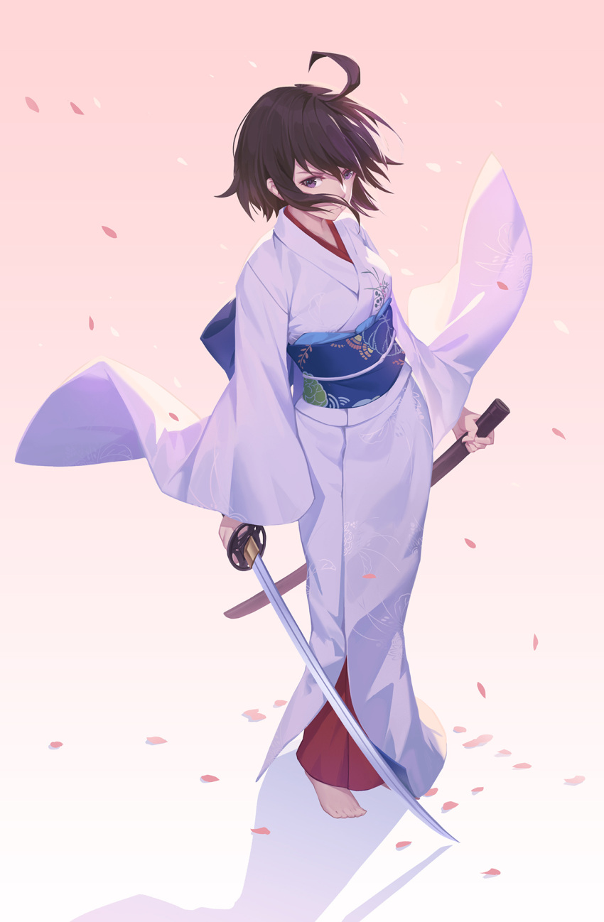 1girl ahoge barefoot breasts brown_hair closed_mouth fate/grand_order fate_(series) floating_hair full_body gradient gradient_background highres holding holding_sword holding_weapon japanese_clothes kara_no_kyoukai katana kimono long_sleeves looking_at_viewer nian obi petals ryougi_shiki sash scabbard shadow sheath solo sword unsheathed violet_eyes weapon wide_sleeves wind