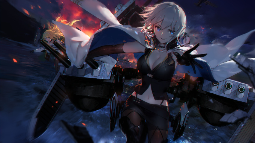 2girls azur_lane bare_shoulders belt black_footwear black_gloves black_legwear black_skirt black_vest blonde_hair blue_eyes boots breasts cape character_request choker cleavage cowboy_shot elbow_gloves gloves highres long_hair looking_at_viewer machinery midriff multiple_girls navel pantyhose pointing short_hair skirt swd3e2 thigh-highs thigh_boots vest water white_hair