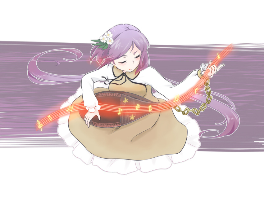 1girl bangs biwa_lute brown_dress chains closed_eyes cuffs dress floating_hair flower frilled_dress frills hair_flower hair_ornament instrument long_hair long_sleeves lute_(instrument) musical_note parted_bangs purple_hair sharp_sign smile solo staff_(music) tamaki_hakobe touhou treble_clef tsukumo_benben tsukumogami twintails very_long_hair