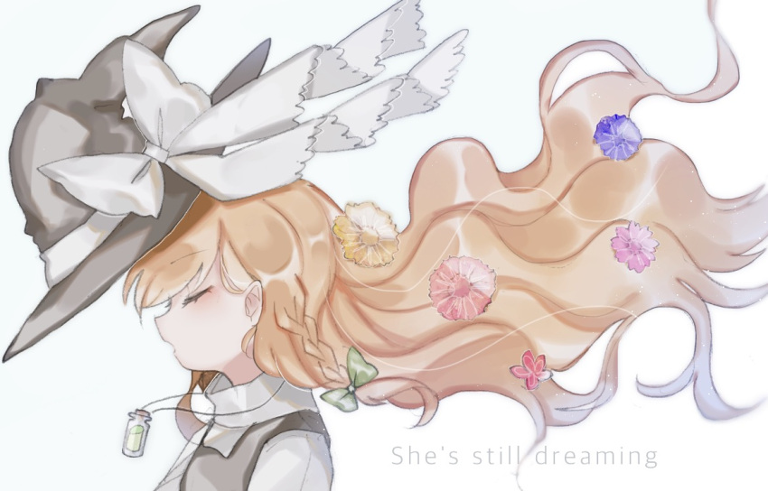 1girl black_hat black_vest blonde_hair bow braid closed_eyes english flower from_side green_bow hair_bow hair_flower hair_ornament hat hat_bow jewelry kirisame_marisa long_hair necklace open_mouth portrait shirt side_braid solo sorani_(kaeru0768) touhou vest vial white_bow white_shirt witch_hat