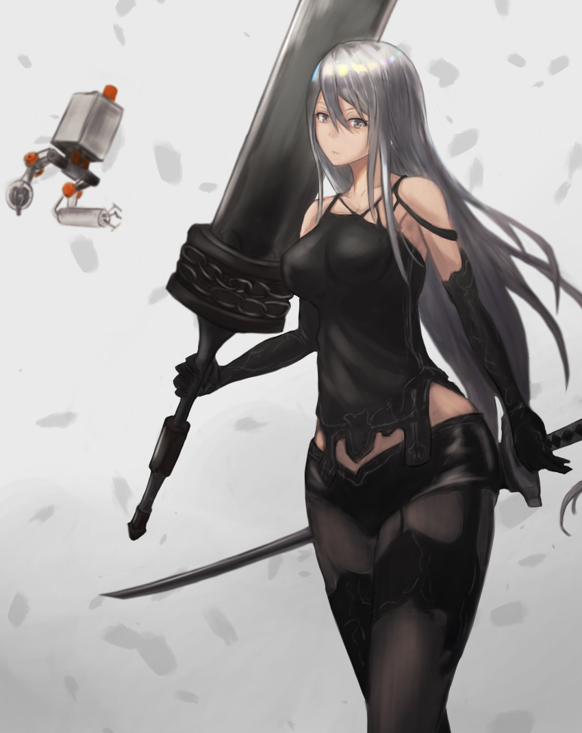 1girl android armlet black_clothes breasts chains collarbone elbow_gloves gloves grey_eyes hair_between_eyes highres holding holding_weapon huge_weapon katana long_hair nier_(series) nier_automata pale_skin pod_(nier_automata) solo sword weapon white_hair yorha_type_a_no._2