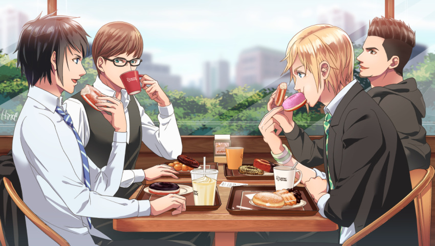 4boys black_hair black_jacket blonde_hair blue_eyes brown_eyes brown_hair chair coffee_mug collared_shirt doughnut drink drinking drinking_straw eating eye_contact final_fantasy final_fantasy_xv food from_side gladiolus_amicitia hinoe_(dd_works) holding holding_food hood hood_down hoodie ignis_scientia indoors jacket jacket_removed long_sleeves looking_at_another male_focus multiple_boys necktie noctis_lucis_caelum old-fashioned_doughnut pastry prompto_argentum restaurant shirt signature sitting sprinkles striped striped_necktie sweatband table teenage tray vest waistcoat white_shirt window