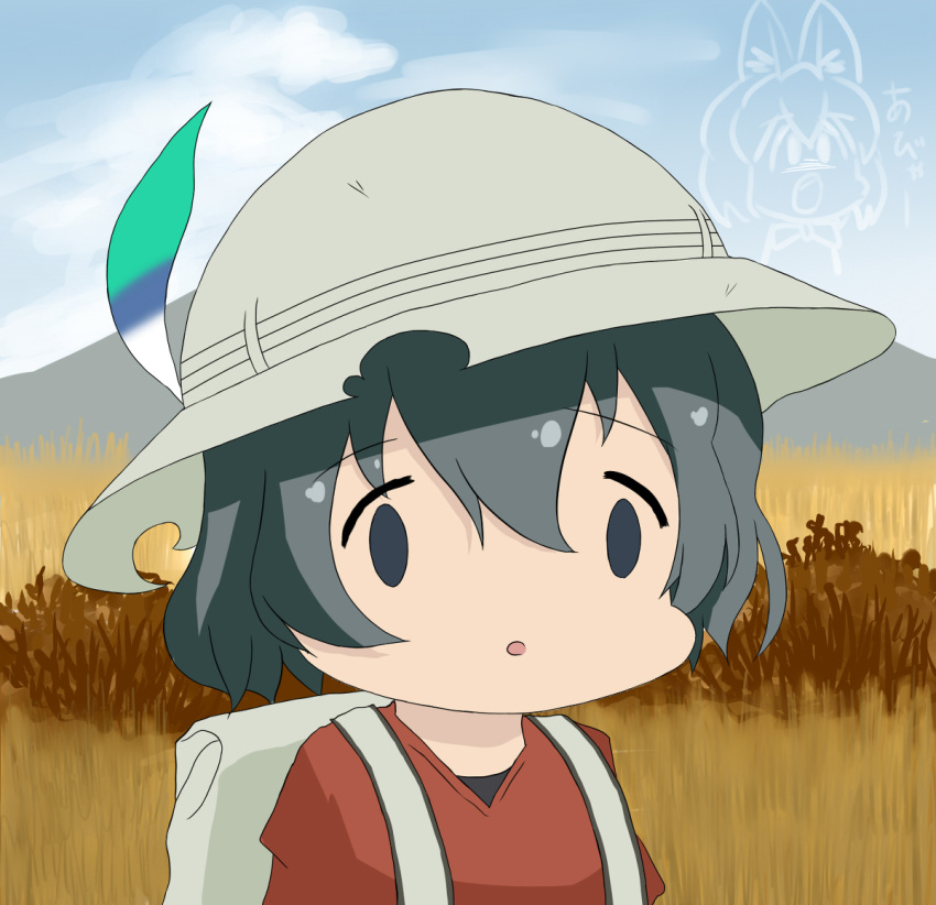 1girl ai_mai_mii animal_ears backpack bag black_hair commentary commentary_request dagappa face_of_the_people_who_sank_all_their_money_into_the_fx hat hat_feather kaban kemono_friends parody red_shirt savannah season_connection seiyuu_connection serval_(kemono_friends) serval_ears shirt uchida_aya