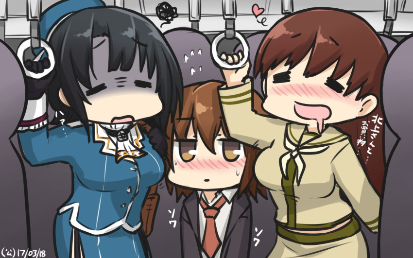 3girls ascot beret black_gloves black_hair blazer blush breasts brown_hair commentary dated drooling embarrassed flying_sweatdrops gloves ground_vehicle hamu_koutarou hat heart highres jacket kantai_collection large_breasts long_hair military military_uniform multiple_girls necktie ooi_(kantai_collection) school_uniform serafuku shaded_face short_hair squiggle sweat takao_(kantai_collection) train train_interior uniform wakaba_(kantai_collection)