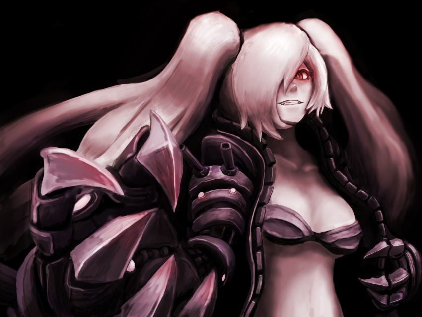 1girl black_background black_bikini_top chaimi claws foreshortening hair_over_one_eye highres jacket kantai_collection leather leather_jacket long_hair looking_at_viewer mechanical_arms midriff open_clothes open_jacket pale_skin red_eyes shinkaisei-kan simple_background solo southern_ocean_oni twintails very_long_hair white_hair zipper