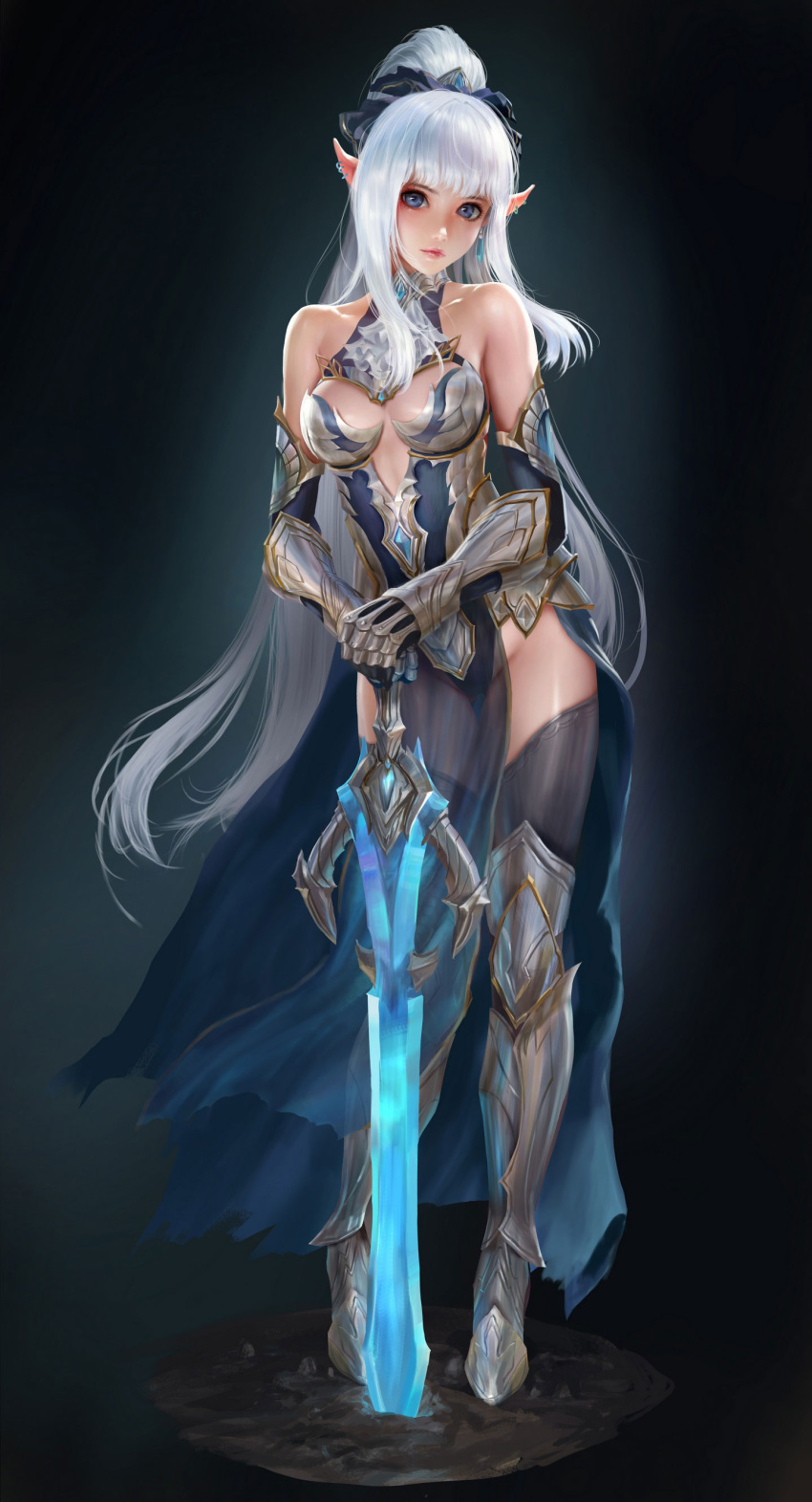 1girl absurdres armor bare_shoulders blue_eyes breasts bruce_zhang_(awpzzggg) closed_mouth collarbone commentary earrings elf full_body gauntlets groin hands_on_hilt high_ponytail highres jewelry looking_at_viewer medium_breasts original own_hands_together planted_sword planted_weapon pointy_ears see-through sidelocks solo standing sword weapon white_hair