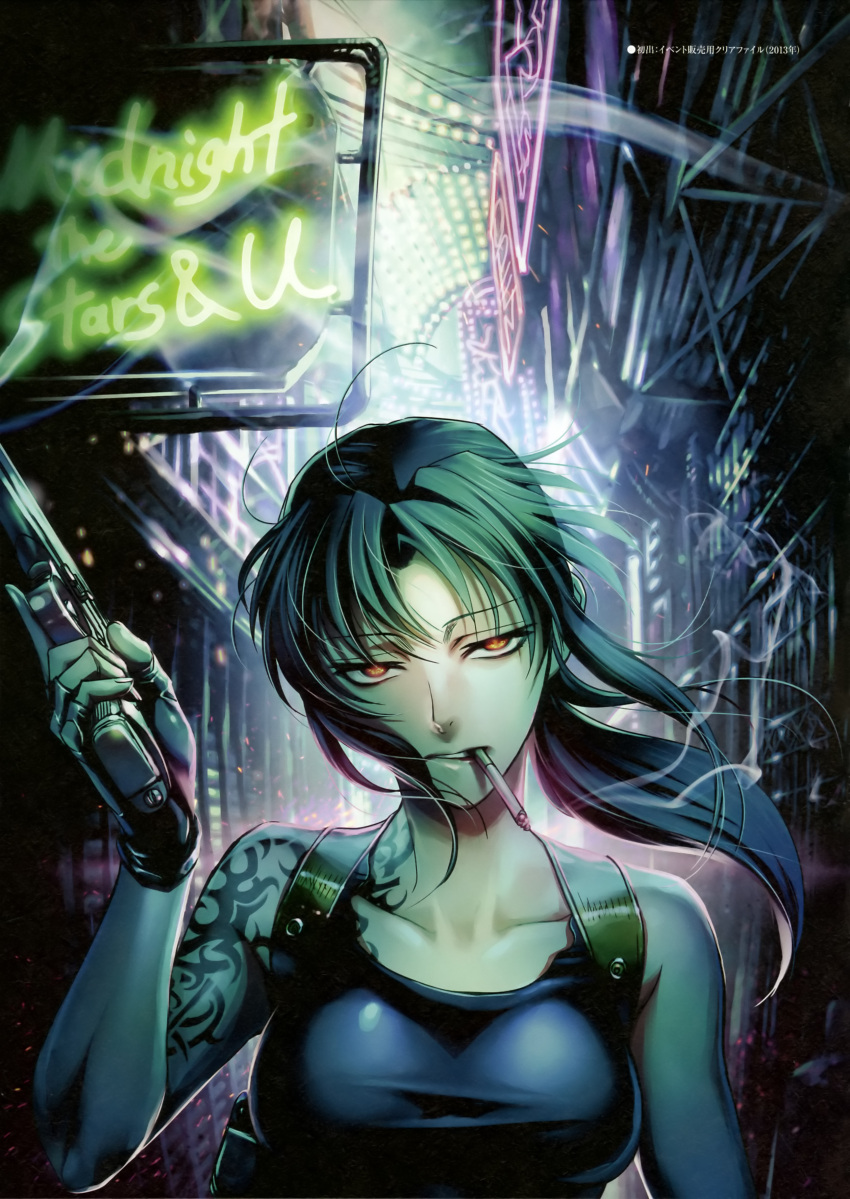 1girl absurdres bare_shoulders black_gloves black_lagoon cigarette collarbone fingerless_gloves gloves glowing glowing_eyes gun highres hiroe_rei holding holding_weapon long_hair looking_at_viewer neon_lights official_art revy_(black_lagoon) scan sleeveless smoking solo tattoo weapon wind yellow_eyes