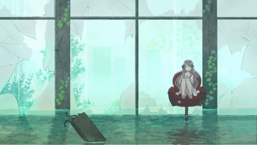 1girl barefoot broken_glass closed_eyes dress glass headphones light_brown_hair long_hair mozuku_(mozuuru0323) original reflection ruins scenery sitting solo water white_dress