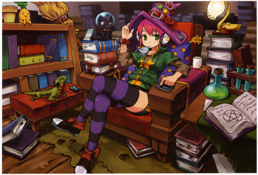 1girl armchair black_border book book_stack border cat chair chan_co converse earphones green_eyes hand_on_headwear hat highres lamp legs_crossed lizard looking_at_viewer mouth_hold original pink_hair purple_legwear shoes shorts sneakers solo striped striped_legwear study thigh-highs witch_hat