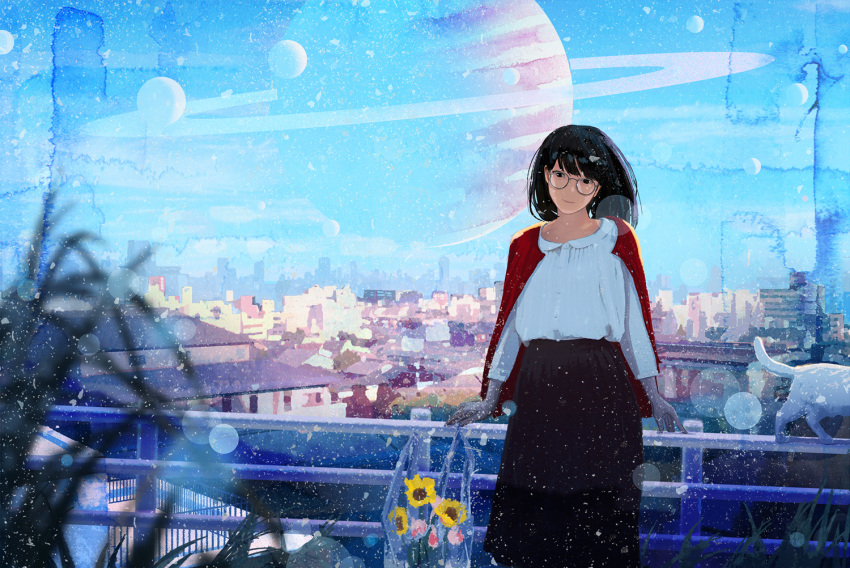 1girl black_hair blouse blue_sky blurry bokeh cat cityscape day depth_of_field flower glasses high-waist_skirt long_hair long_skirt long_sleeves nakamura_yukihiro original outdoors planet railing round_glasses saturn short_hair skirt sky solo standing sunflower sunlight white_blouse white_cat