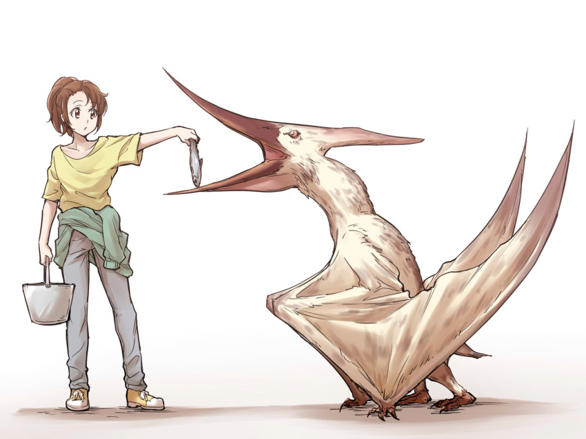 1girl animal_request brown_eyes brown_hair bucket character_request clothes_around_waist copyright_request fish highres ogry_ching pants ponytail pteranodon pterosaur shoes short_sleeves