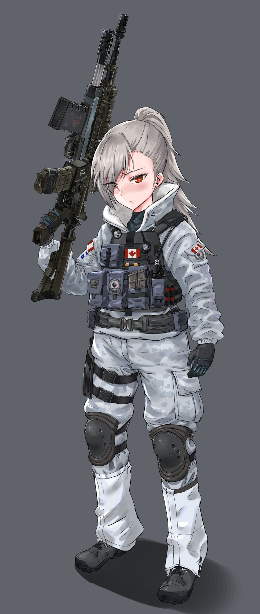 1girl absurdres belt buck_(rainbow_six_siege) camouflage canadian_flag closers cosplay crossover digital_camouflage eyebrows_visible_through_hair eyes_visible_through_hair frost_(rainbow_six_siege) full_body gloves gun hair_over_one_eye highres jacket knee_pads load_bearing_vest operator pants ponytail pouch rainbow_six_siege red_eyes silver_hair solo ssamjang_(misosan) tactical_clothes tina_(closers) trigger_discipline weapon weapon_request
