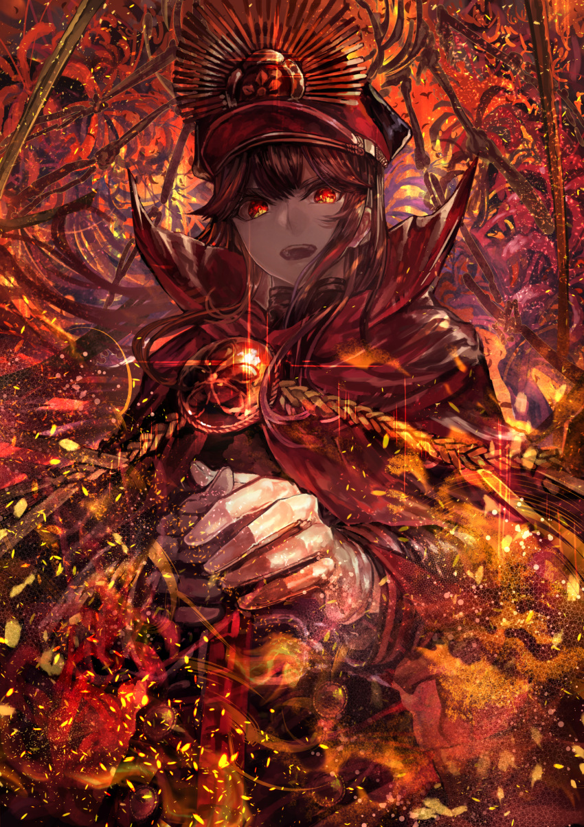 1girl black_clothes black_hair black_hat burning_eyes buttons cape demon_archer fate/grand_order fate_(series) flower gloves hands_on_hilt hat highres koha-ace long_hair long_sleeves looking_at_viewer military military_uniform open_mouth red_cape red_eyes signo_aaa solo sparks spider_lily sword turtleneck uniform weapon white_gloves