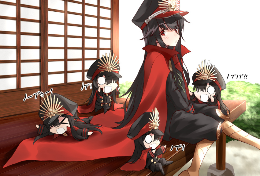 5girls :d architecture black_hair black_pants black_shirt blush cape chibi demon_archer east_asian_architecture fate/grand_order fate_(series) hat highres japanese_clothes keikenchi_(style) koha-ace long_hair long_sleeves military military_hat military_uniform multiple_girls multiple_persona o_o open_mouth pants peaked_cap red_cape red_eyes shirt shunichi sitting smile translation_request uniform v_arms
