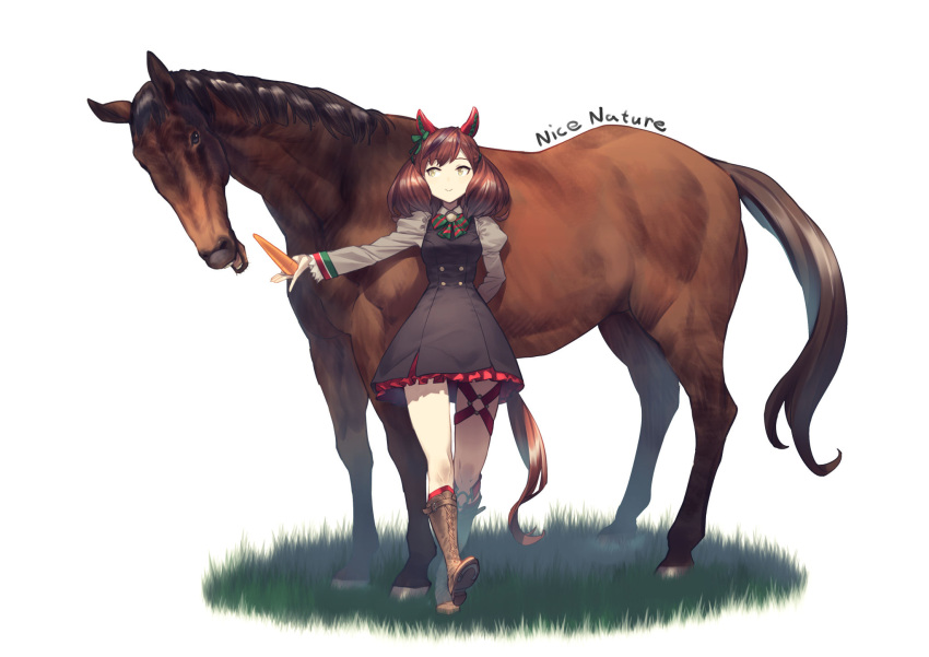 1girl animal_ears boots brown_hair carrot character_name dress highres horse horse_ears horse_tail nice_nature_(umamusume) shimotsuki_eight smile tail twintails umamusume white_background