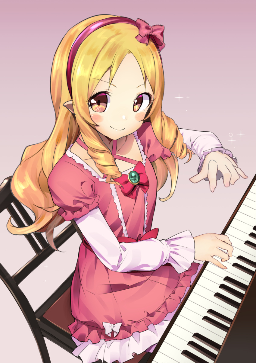 1girl akechi_shizuku blonde_hair blush_stickers bow brown_eyes chair dress drill_hair eromanga_sensei frills hair_bow hairband highres instrument long_hair looking_at_viewer music piano pink_dress playing_instrument playing_piano pointy_ears red_bow smile solo twin_drills yamada_elf