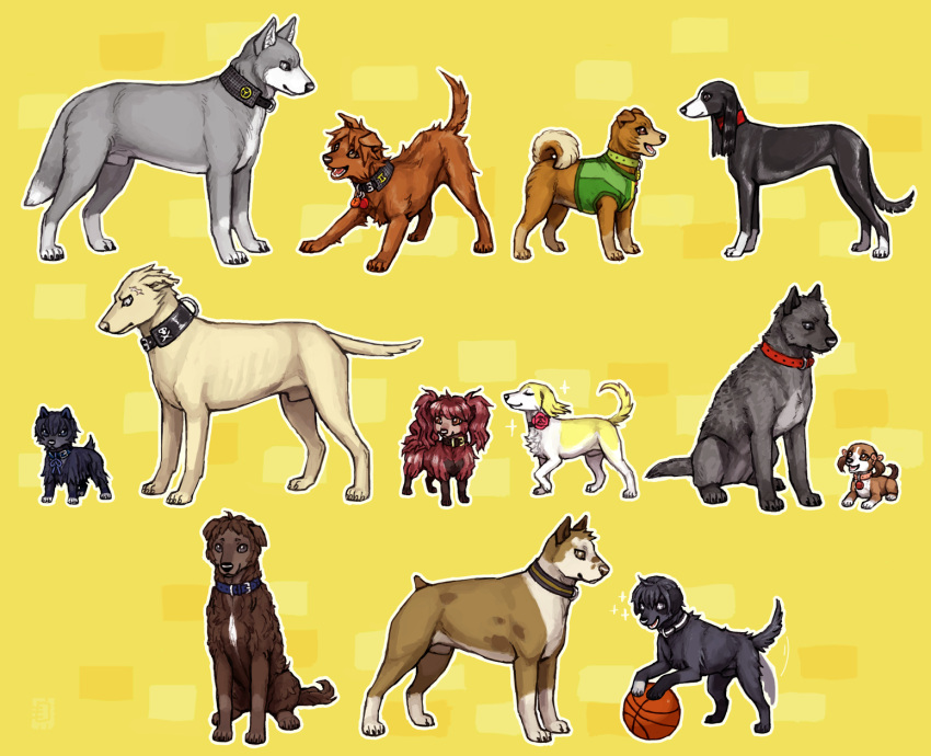 adachi_tooru amagi_yukiko animalization ball collar dog doujima_nanako doujima_ryoutarou emlan flower hanamura_yousuke highres ichijou_kou kujikawa_rise kuma_(persona_4) nagase_daisuke narukami_yuu no_humans pack_of_dogs persona persona_4 rose satonaka_chie shirogane_naoto tail tail_wagging tatsumi_kanji translated
