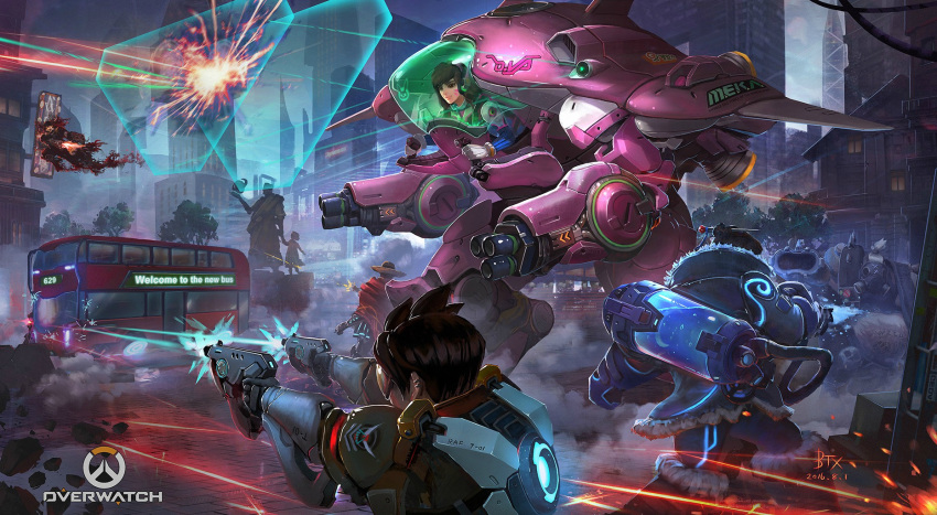 2016 3boys 4girls acronym action arm_cannon armor armored_dress artist_name battle blue_gloves blue_legwear bodysuit bomber_jacket boots bracer brown_eyes brown_gloves brown_hair brown_jacket building building_block bus canister cape character_name clouds cloudy_sky coat copyright_name cowboy_hat d.va_(overwatch) darkness dated dual_wielding ear_piercing emblem energy_gun energy_shield face_mask facepaint facial_mark fat firing floating from_behind fur-trimmed_boots fur-trimmed_jacket fur_boots fur_coat fur_trim gas_mask gatling_gun gloves grey_hair ground_vehicle gun hair_bun hair_ornament hair_stick hair_tie handgun harness hat highres holding holding_gun holding_weapon holographic_interface holster hose jacket knee_boots leather leather_jacket logo long_sleeves mask mccree_(overwatch) mecha mechanical_arm mei_(overwatch) meka_(overwatch) military_rank_insignia motor_vehicle multiple_boys multiple_girls night night_sky overwatch pauldrons piercing pilot_suit poncho ray_gun reaper_(overwatch) red_cape revolver ribbed_bodysuit roadhog_(overwatch) shield shirtless short_sleeves shotgun shoulder_pads signature skull skull_mask sky skyscraper sleeves_rolled_up smoke spikes spiky_hair statue tattoo thigh_holster thrusters tire tracer_(overwatch) tree trench_coat turtleneck vambraces weapon whisker_markings white_gloves widowmaker_(overwatch)
