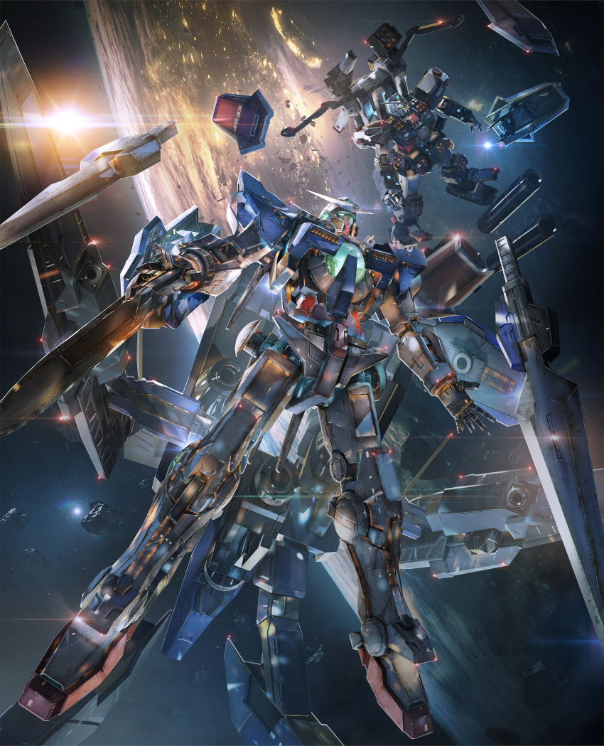 absurdres full_armor_gundam gundam gundam_exia highres mecha no_humans shield space sword weapon