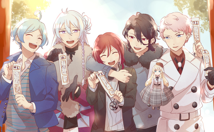 5boys ahoge aqua_hair black_hair blue_hair braid coat doll ensemble_stars! hibiki_wataru itsuki_shu jacket long_hair mademoiselle_(ensemble_stars!) male_focus multiple_boys pink_hair red_eyes redhead sakasaki_natsume sakuma_rei_(ensemble_stars!) scarf shinkai_kanata short_hair silver_hair smile sweater turtleneck turtleneck_sweater winter_clothes