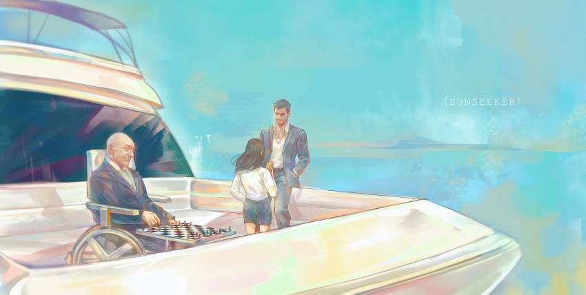 board_game boat chess chess_piece chessboard good_end highres logan_(movie) ocean watercraft wheelchair window wolverine x-23 x-men