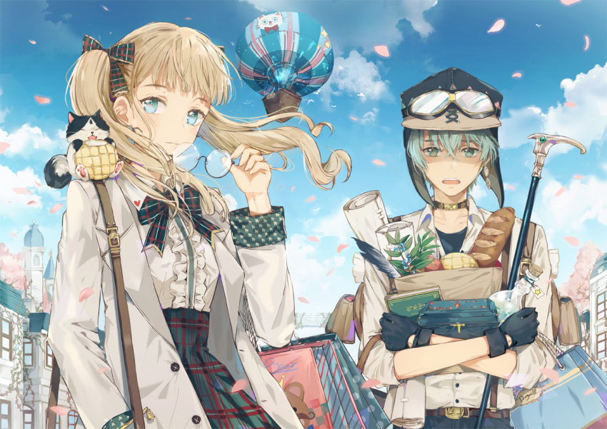 1boy 1girl aircraft bag balloon bangs belt blonde_hair blue_eyes blue_gloves blue_hair blue_shirt blunt_bangs blush book braid bread building buttons cane cat cherry_blossoms choker clouds commentary_request copyright_request dangmill day denim eyebrows_visible_through_hair feathers food frilled_shirt frills gift_bag glasses gloves goggles green_eyes hair_between_eyes hair_ribbon hat heart holding holding_glasses hot_air_balloon jeans labcoat long_hair looking_at_viewer melon_bread open_mouth outdoors pants paper paper_bag petals plaid plaid_skirt plant quill ribbon rolled semi-rimless_glasses shirt skirt sky strap t-shirt tagme tower twin_braids twintails under-rim_glasses vines wind