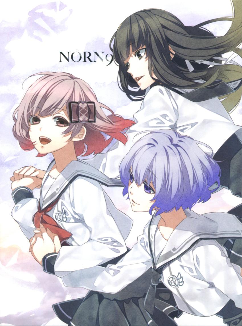 koharu_(norn9) kuga_mikoto norn9 pink_eyes pink_hair shiranui_nanami teita