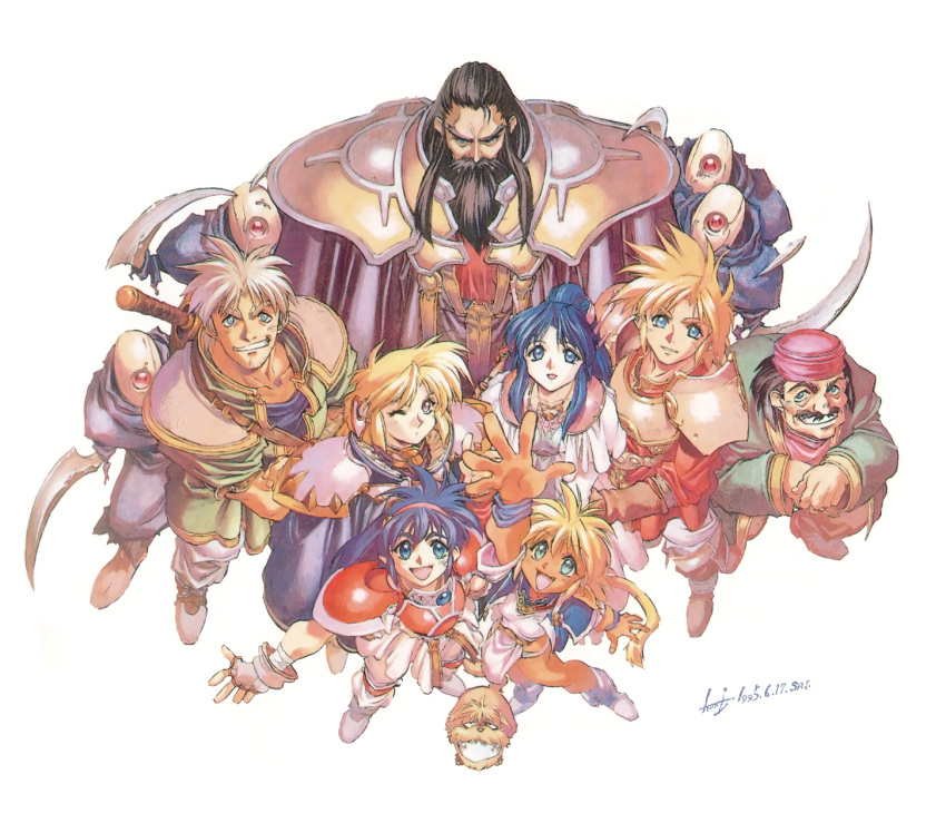 4boys 4girls armor beard black_hair blonde_hair blue_eyes blue_hair boots everyone facial_hair fam fingerless_gloves galuff gil_(ruin_explorers) gloves grin hairband hat highres hikyou_tanken_fam_&_ihrie ihrie long_hair looking_at_viewer lyle miguel multiple_boys multiple_girls musical_note official_art one_eye_closed open_mouth outstretched_arm outstretched_hand pauldrons rasha_(ruin_explorers) simple_background smile tanaka_kunihiko white_background