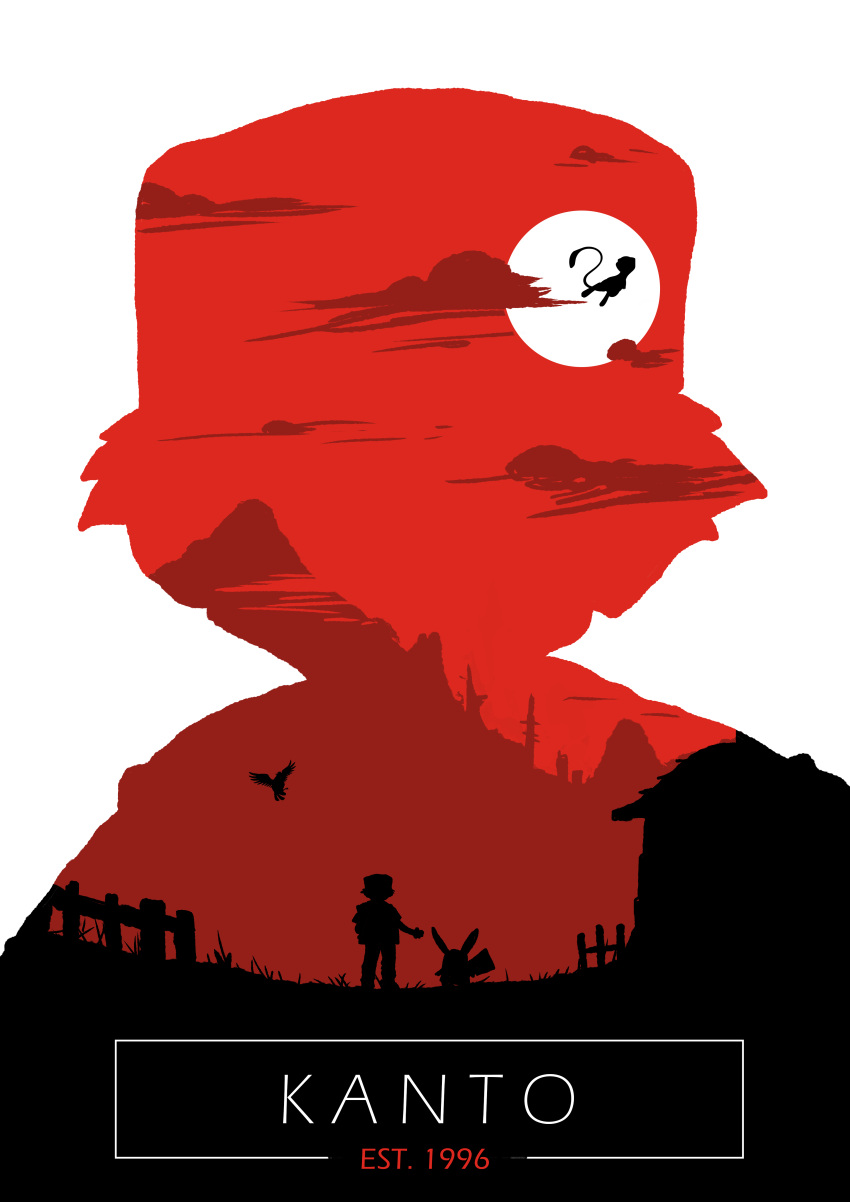 1996 1boy absurdres fence highres male_focus mew picket_fence pidgey pikachu pokemon pokemon_(creature) pokemon_(game) pokemon_rgby red red_(pokemon) red_(pokemon)_(classic) red_sky silhouette sky traceysketchit wooden_fence