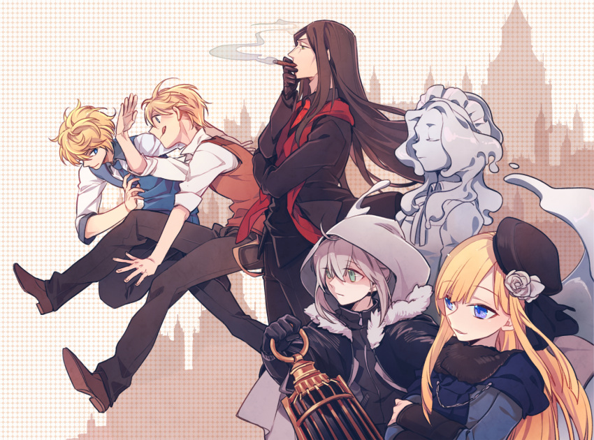 3boys 3girls :q ahoge arm_up bangs birdcage black_gloves black_hair black_hat black_jacket black_pants blonde_hair blue_eyes blue_necktie blue_vest bonnet brown_eyes brown_gloves brown_pants brown_shoes cage cigar cityscape cloak closed_eyes closed_mouth crossed_arms expressionless fate_(series) flat_eskardos flower from_side full_body fur_collar gloves goo_girl gray_(lord_el-melloi_ii) green_eyes grey_hair hair_flower hair_ornament half-closed_eyes hat holding hood hood_up hooded_cloak jacket lantern long_hair long_sleeves looking_away lord_el-melloi_ii lord_el-melloi_ii_case_files maid_headdress midair monster_girl multiple_boys multiple_girls nasnotte necktie open_clothes open_jacket pants parted_lips profile red_necktie red_vest reines_archisorte_el-melloi shaded_face shirt shoes short_hair sidelocks simple_background sleeves_past_elbows sleeves_pushed_up smoking standing svin_glascheit tongue tongue_out trimmau upper_body very_long_hair vest waistcoat waver_velvet white_shirt