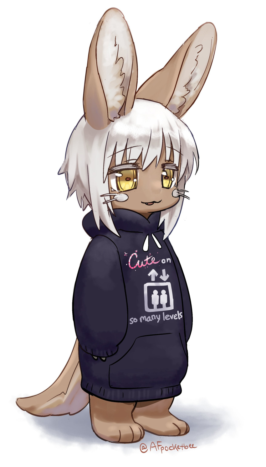 1other absurdres androgynous animal_ears artist_name black_hoodie clothes_writing eyebrows_visible_through_hair full_body furry highres hood hoodie long_sleeves looking_away made_in_abyss nanachi_(made_in_abyss) parted_lips pocketbee short_hair sleeves_past_wrists smile standing tail twitter_username whiskers white_hair yellow_eyes