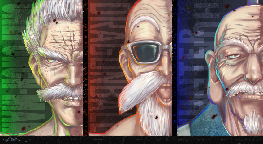 3boys :d bald bang_(one-punch_man) beard clenched_teeth copyright_name dragon_ball facial_hair fenrisu1fr grin highres hunter_x_hunter isaac_netero looking_at_viewer multiple_boys mustache muten_roushi old_man one-punch_man open_mouth smile sunglasses teeth white_hair wrinkles