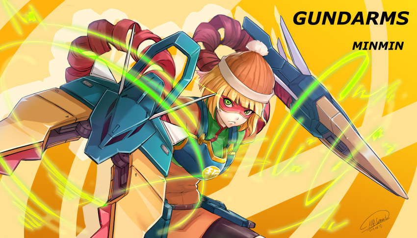 1girl absurdres arms_(game) bangs beanie bike_shorts blonde_hair chinese_clothes domino_mask dragon dragon_(arms) facepaint food green_eyes gundam gundam_wing hat highres leggings legwear_under_shorts looking_at_viewer mask min_min_(arms) nataku_gundam noodles short_hair shorts shou_mai solo
