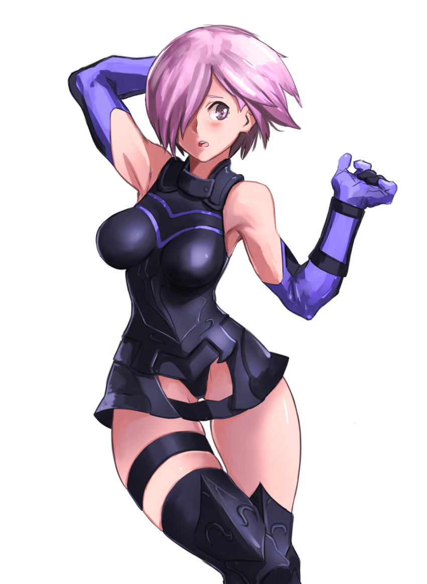 1girl armor armored_dress blush boots elbow_gloves fate/grand_order fate_(series) gloves hair_over_one_eye highres imdsound looking_at_viewer open_mouth pink_hair purple_gloves shielder_(fate/grand_order) short_hair simple_background solo thigh-highs thigh_boots thigh_strap violet_eyes