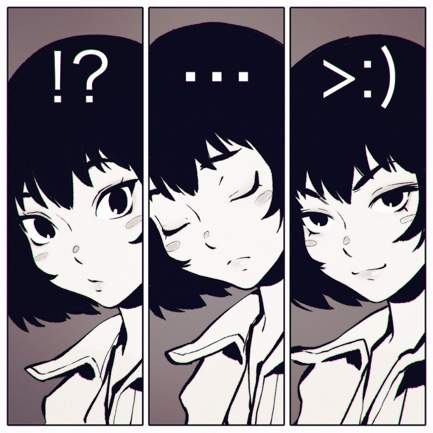 !? >:) >:3 ... 1girl :3 blush_stickers bob_cut brown_background closed_eyes collared_shirt expression_chart frown greyscale ilya_kuvshinov looking_at_viewer monochrome multiple_views naughty_face original portrait shirt short_hair simple_background surprised tsurime upper_body