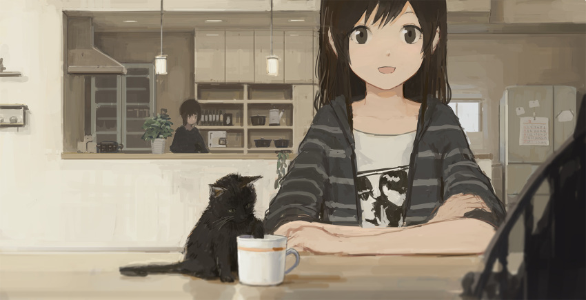 2girls arm_support blurry brown_eyes brown_hair cat commentary cup depth_of_field highres indoors kitchen kitten long_hair looking_at_viewer multiple_girls muted_color original plant potted_plant refrigerator shion_(mirudakemann) short_hair smile sonic_youth teacup