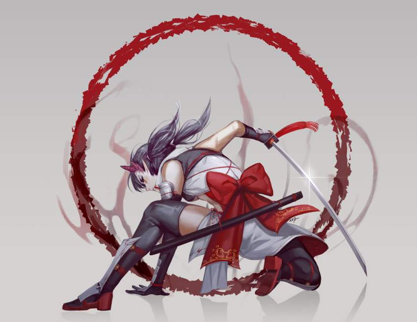 1girl asakura_(soccer_spirits) black_hair black_legwear boots circle demon_horns glint greaves horns katana pointy_ears red_eyes reflection sash sheath soccer_spirits solo sword tooaya weapon