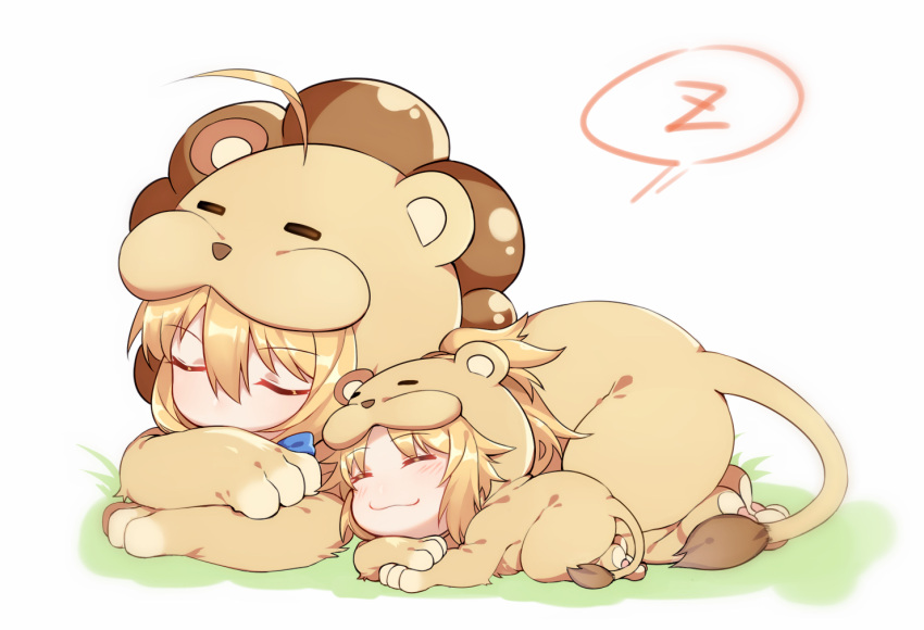2girls :3 ^_^ animal_costume animal_print artoria_pendragon_(all) bangs blonde_hair chibi closed_eyes closed_mouth eyebrows_visible_through_hair fate/apocrypha fate/grand_order fate/stay_night fate_(series) hair_between_eyes lying mordred_(fate)_(all) mother_and_daughter multiple_girls on_stomach saber saber_(fate) saber_lion saber_of_red sidelocks sleeping speech_bubble tiger_costume tiger_print yorukun zzz