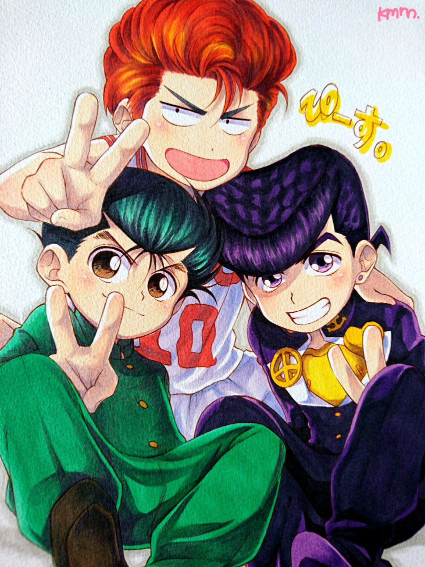 3boys absurdres anchor_symbol basketball_uniform brown_eyes crossover earrings gakuran green_hair grin heart higashikata_jousuke highres jewelry jojo_no_kimyou_na_bouken kameron male_focus marker_(medium) multiple_boys multiple_crossover open_mouth orange_hair peace_symbol pin pompadour purple_hair sakuragi_hanamichi school_uniform signature sitting slam_dunk smile sportswear stud_earrings traditional_media trait_connection urameshi_yuusuke v violet_eyes yuu_yuu_hakusho