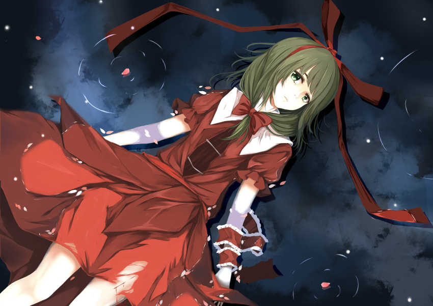 1girl absurdres afloat arms_at_sides bangs bleeding blood blunt_bangs bow brown_necktie closed_mouth dress expressionless frills from_above front_ponytail green_eyes green_hair hair_bow hair_ribbon head_tilt highres injury kagiyama_hina long_hair looking_at_viewer looking_up lying mu_yan necktie on_back pale_skin petals petals_on_water puffy_short_sleeves puffy_sleeves red_bow red_dress red_ribbon ribbon ripples short_sleeves solo torn_clothes torn_dress touhou water wet wet_clothes wet_dress wrist_ribbon