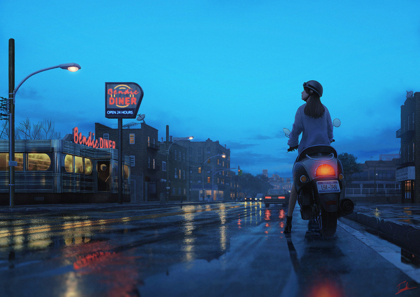 1girl black_hair blue_sky building cat city clouds cloudy_sky diner door evening from_behind ground_vehicle jacket light long_hair motor_vehicle motorcycle new_york on_vehicle original outdoors power_lines radio_antenna realistic reflection restaurant revision road satellite_dish sky solo standing street tamaki_(tamaki_illust) telephone_pole wet white_jacket window